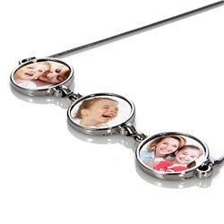 Collar familia con 3 marcos redondos personalizado con fotos