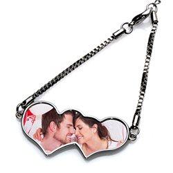 Pulsera romántico corazón doble para foto personalizada
