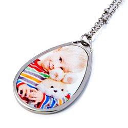 Collar con colgante ovalado personalizado con foto a todo color
