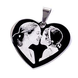 Corazón colgante grabado personalizado a 2 caras con punta de diamante
