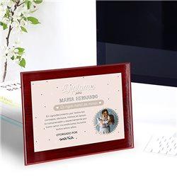 Placa aluminio con marco madera caoba personalizada a todo color