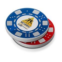 Ficha de póker crupioer personalizada por ambas caras
