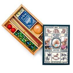 Caja de madera con juegos clásicos infantiles y tapa personalizada