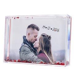 Bola de nieve rectangular con corazones y foto personalizada
