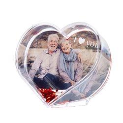 Corazón decorativo con corazones de purpurina flotantes y foto personalizada