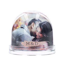 Bola romántica con corazones de purpurina y foto personalizada