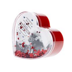 Caja corazón con tapa con corazones flotantes de purpurina