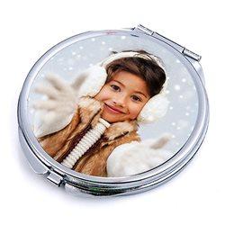 Espejo redondo de bolso con tapa personalizada