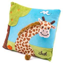 Cojín infantil jirafa 3D con nombre bordado personalizado