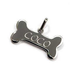 Chapa para collar en forma de hueso con nombre grabado