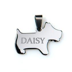 Chapa mascota en forma de perro terrier con grabado personalizado