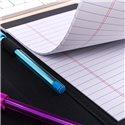 Bolígrafo y puntafina en polipiel negra con costuras en contraste