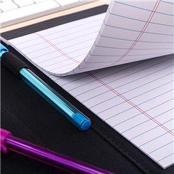 Estuche con bolígrafo y puntafina en polipiel con costuras en contraste