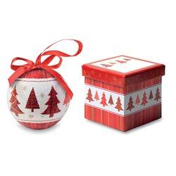 Bola de navidad con motivos de árboles y caja decorativa a juego