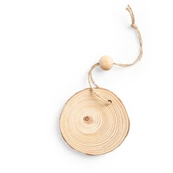 Adorno Corte con corteza en madera natural y cordón
